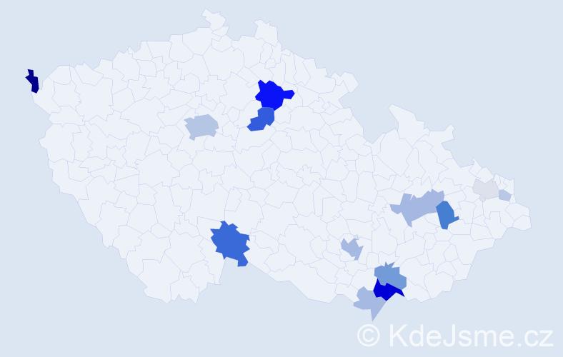Příjmení: 'Bognárová', počet výskytů 39 v celé ČR