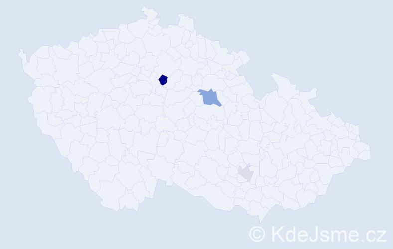 Příjmení: 'Kicsera', počet výskytů 5 v celé ČR