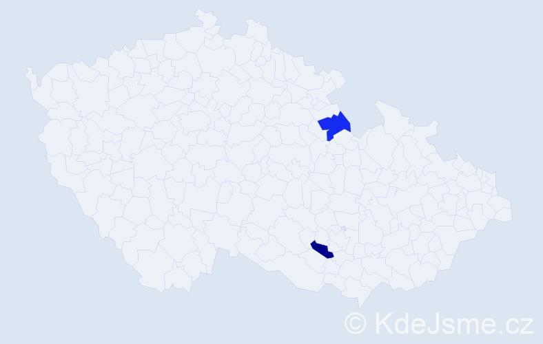 Příjmení: 'Gideon', počet výskytů 2 v celé ČR