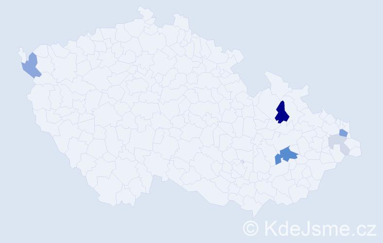 Příjmení: 'Cagašík', počet výskytů 16 v celé ČR