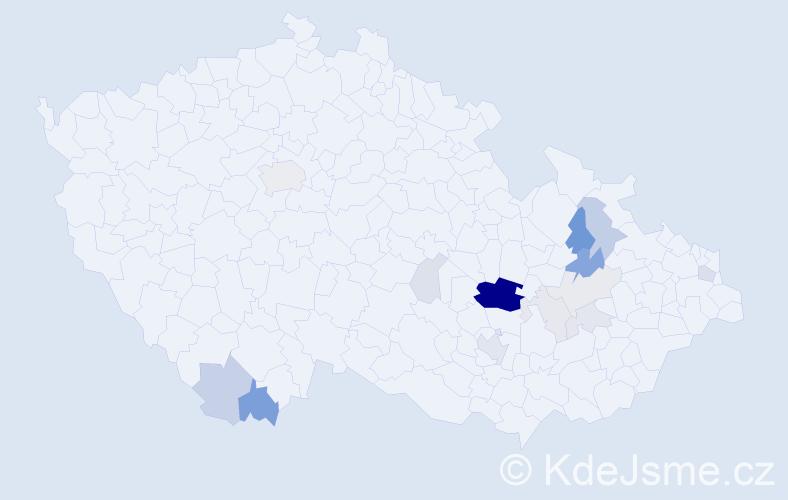 Příjmení: 'Grénarová', počet výskytů 55 v celé ČR