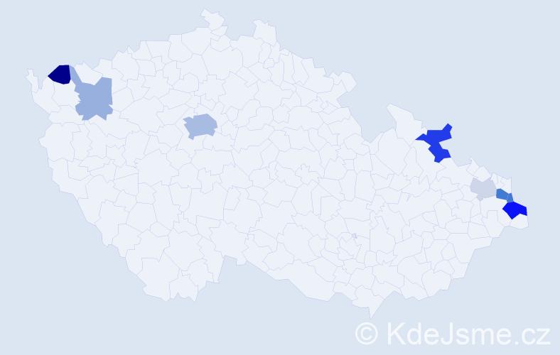 Příjmení: 'Bajusz', počet výskytů 19 v celé ČR