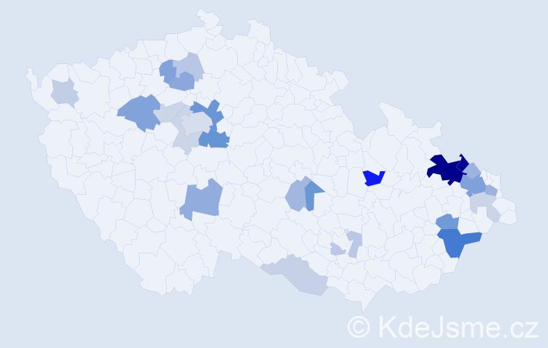 Příjmení: 'Kristian', počet výskytů 62 v celé ČR