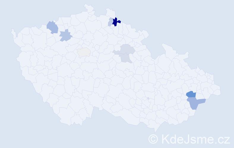Příjmení: 'Engeová', počet výskytů 16 v celé ČR
