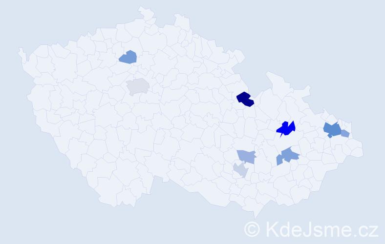 Příjmení: 'Cvilink', počet výskytů 25 v celé ČR