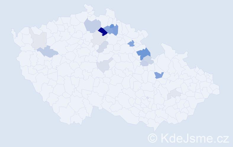 Příjmení: 'Čihulka', počet výskytů 35 v celé ČR