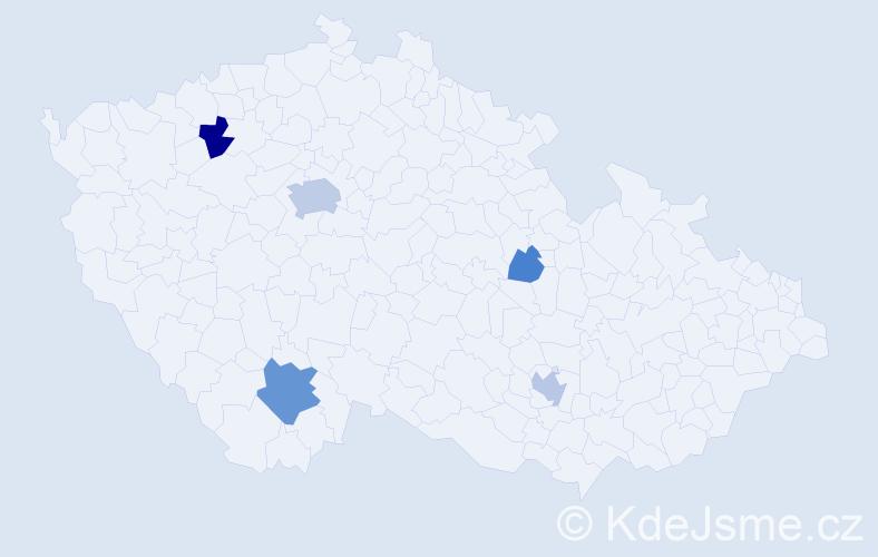 Příjmení: 'Knyttl', počet výskytů 13 v celé ČR