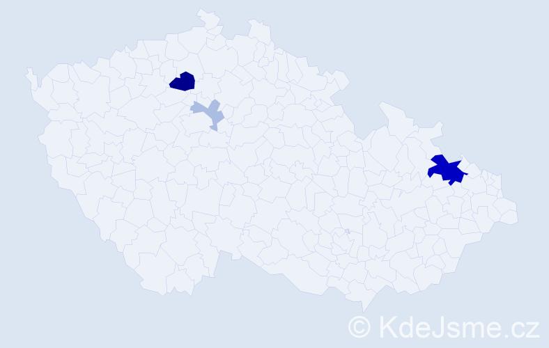Příjmení: 'Ahmeti', počet výskytů 11 v celé ČR