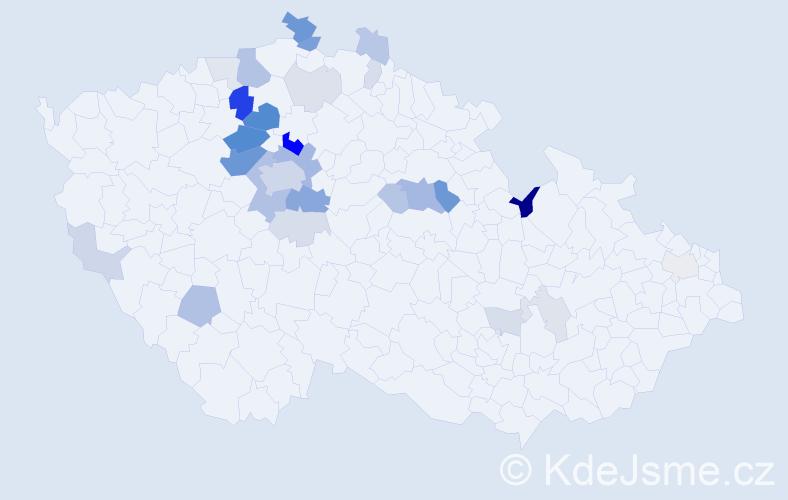 Příjmení: 'Křtěn', počet výskytů 96 v celé ČR
