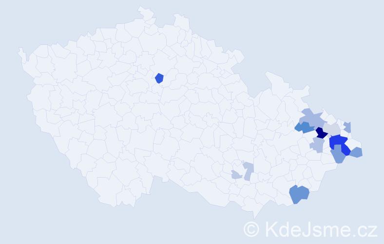 Příjmení: 'Čagala', počet výskytů 29 v celé ČR