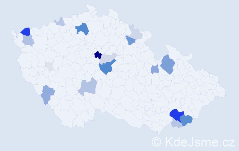 Příjmení: 'Černuška', počet výskytů 50 v celé ČR
