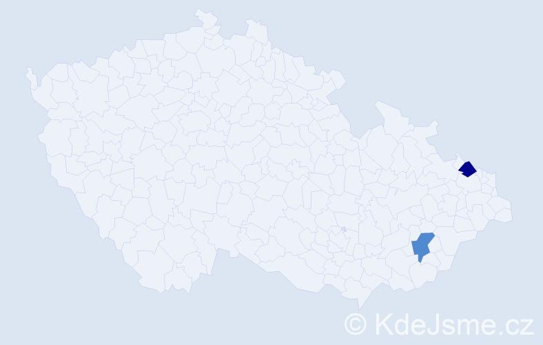 Příjmení: 'Daniek', počet výskytů 2 v celé ČR
