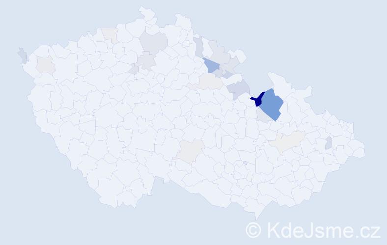Příjmení: 'Bín', počet výskytů 52 v celé ČR