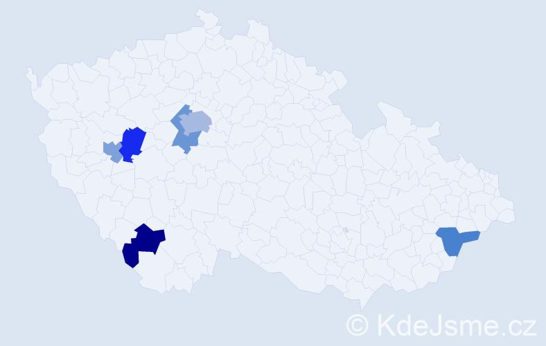 Příjmení: 'Frano', počet výskytů 8 v celé ČR