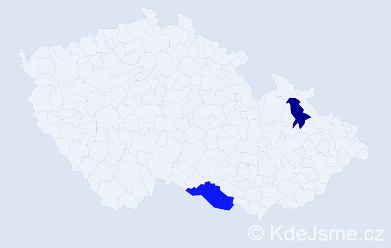Příjmení: 'Boborová', počet výskytů 10 v celé ČR