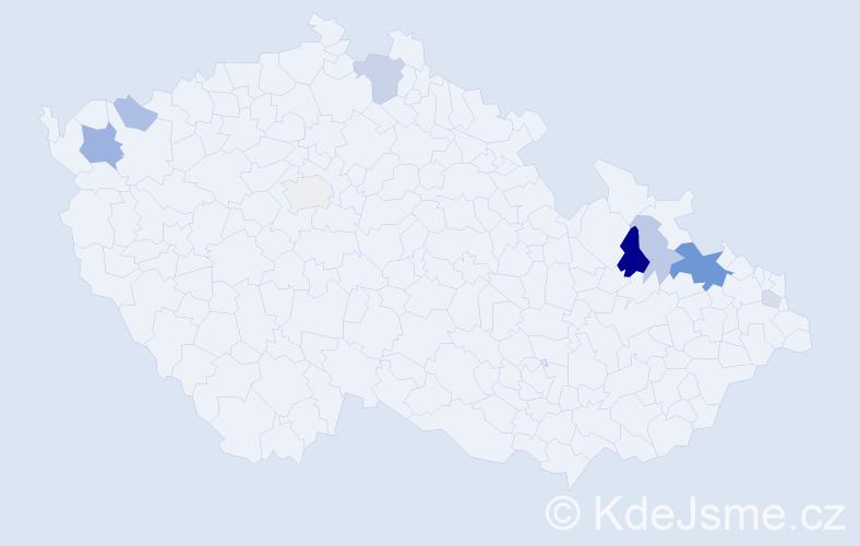 Příjmení: 'Mackurová', počet výskytů 20 v celé ČR