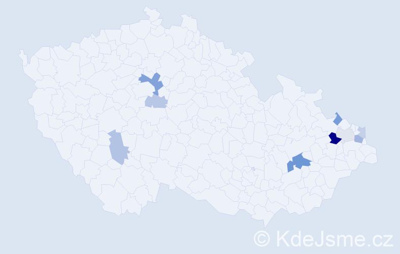 Příjmení: 'Kasprzyk', počet výskytů 18 v celé ČR