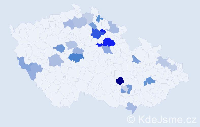 Příjmení: 'Lamr', počet výskytů 53 v celé ČR