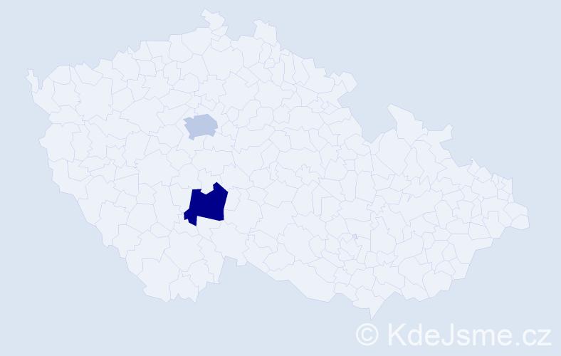 Příjmení: 'Aganj', počet výskytů 2 v celé ČR