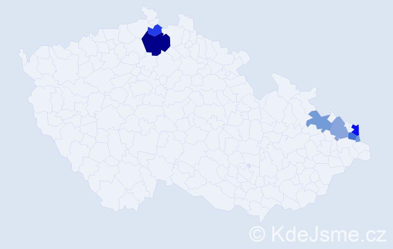 Příjmení: 'Kowal', počet výskytů 31 v celé ČR