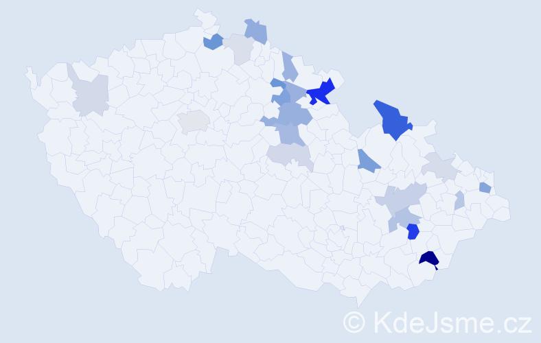 Příjmení: 'Kudelka', počet výskytů 54 v celé ČR