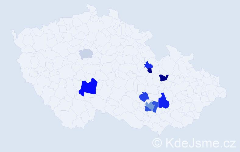 Příjmení: 'Fárník', počet výskytů 18 v celé ČR