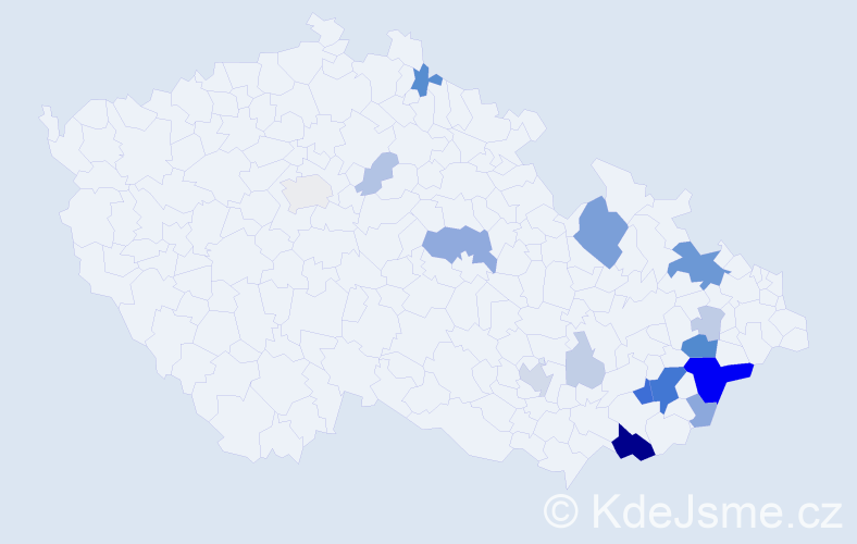 Příjmení: 'Evják', počet výskytů 60 v celé ČR