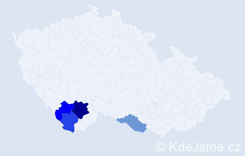 Příjmení: 'Klesner', počet výskytů 7 v celé ČR