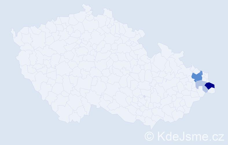 Příjmení: 'Lacki', počet výskytů 15 v celé ČR