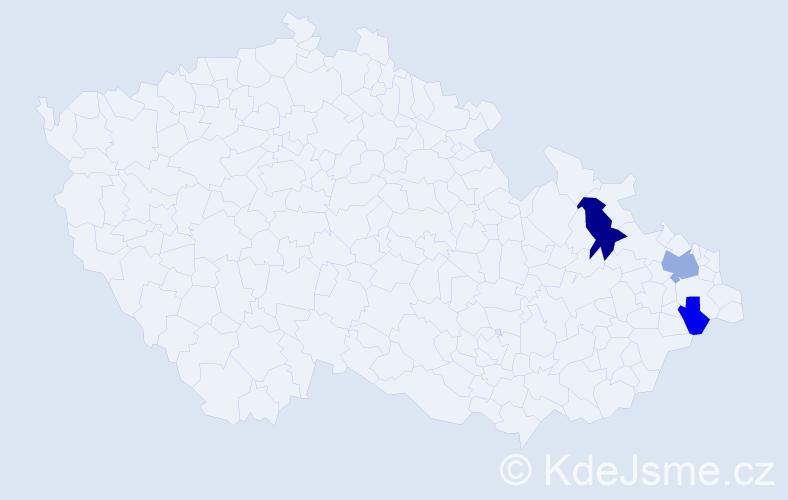 Příjmení: 'Čajanková', počet výskytů 5 v celé ČR