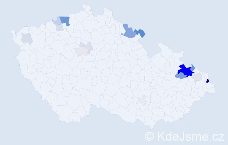 Příjmení: 'Ignác', počet výskytů 53 v celé ČR