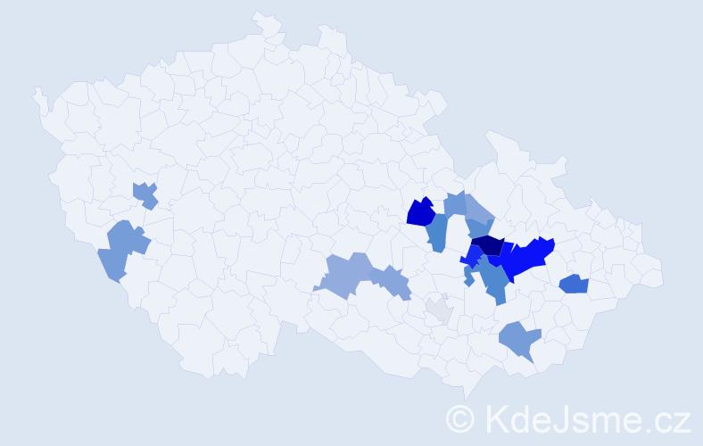 Příjmení: 'Gabrlíková', počet výskytů 45 v celé ČR