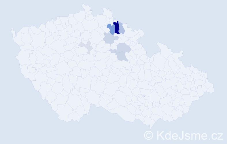 Příjmení: 'Učený', počet výskytů 16 v celé ČR