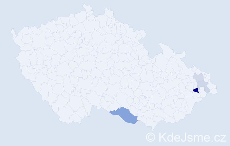 Příjmení: 'Čuport', počet výskytů 9 v celé ČR