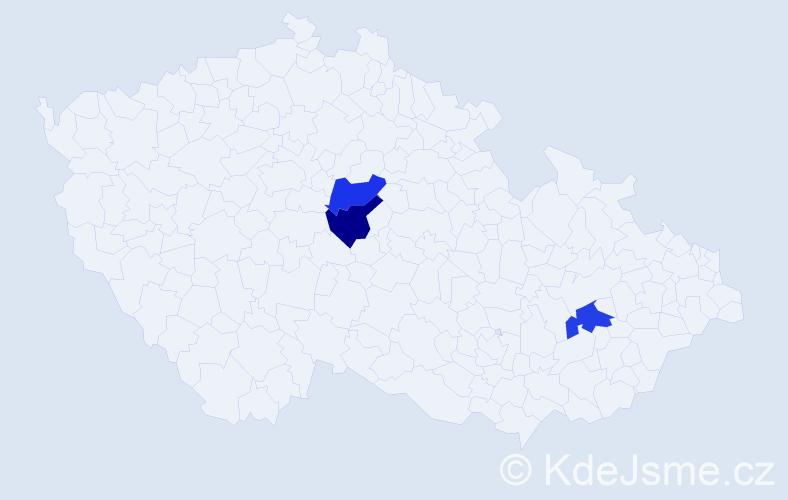 Příjmení: 'Čábelická', počet výskytů 3 v celé ČR