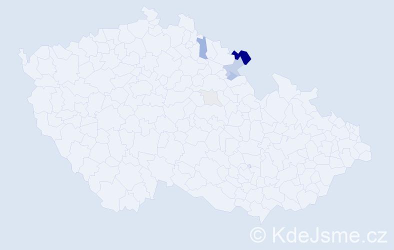 Příjmení: 'Bůna', počet výskytů 16 v celé ČR