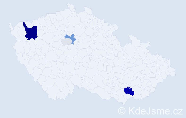 Příjmení: 'Jakubesová', počet výskytů 7 v celé ČR