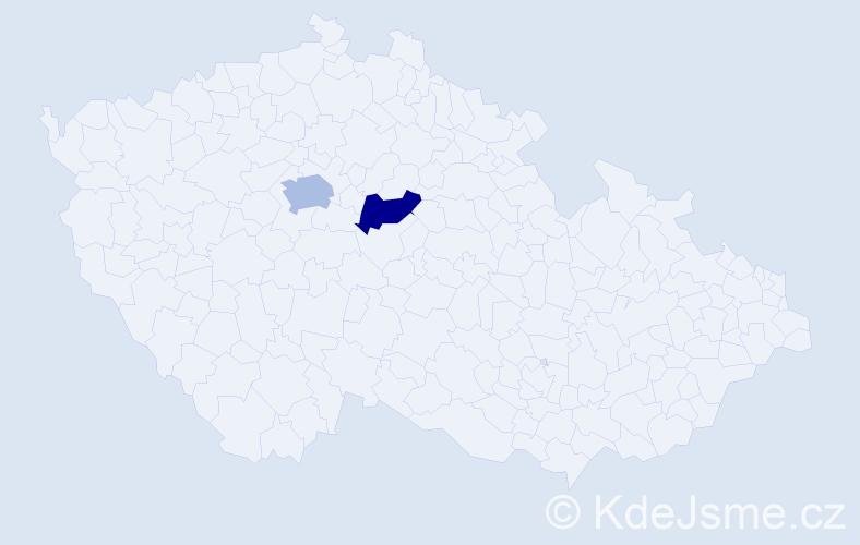 Příjmení: 'Kaninová', počet výskytů 7 v celé ČR