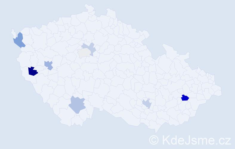 Příjmení: 'Durchan', počet výskytů 16 v celé ČR