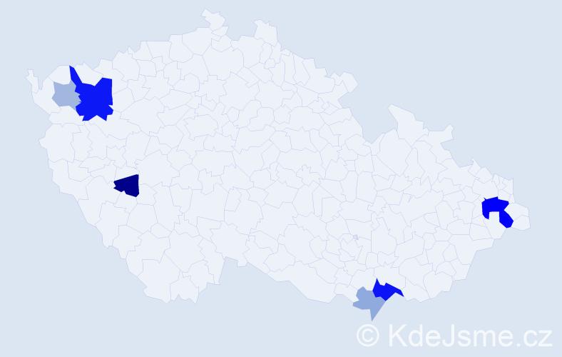Příjmení: 'Csápaiová', počet výskytů 18 v celé ČR