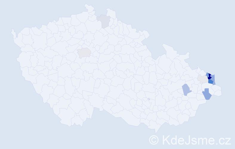 Příjmení: 'Kaszová', počet výskytů 32 v celé ČR