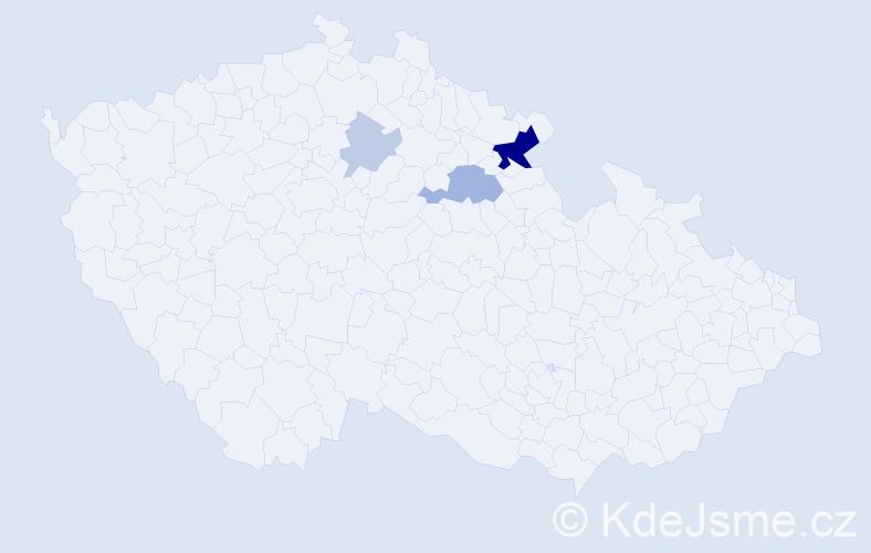 Příjmení: 'Eimerová', počet výskytů 10 v celé ČR