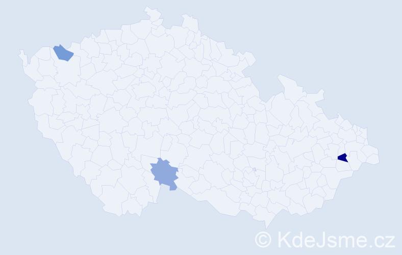Příjmení: 'Jasim', počet výskytů 4 v celé ČR