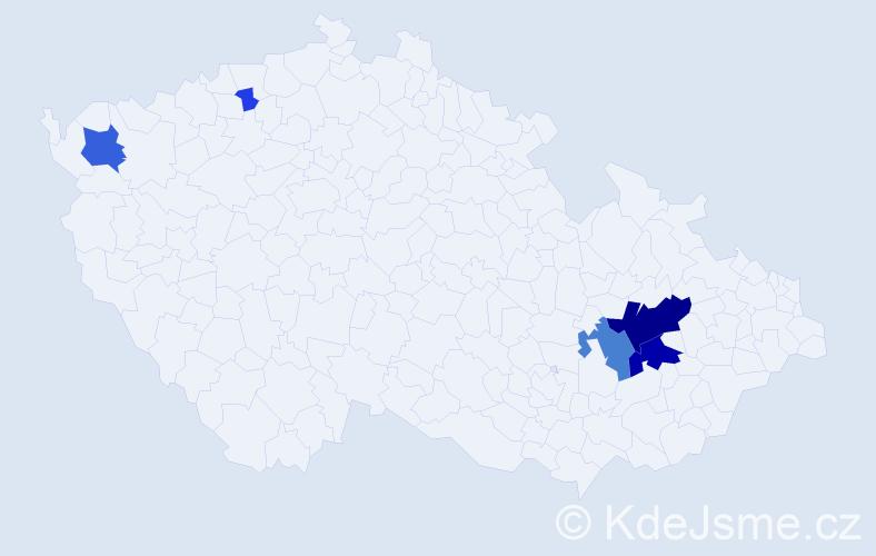 Příjmení: 'Gárská', počet výskytů 20 v celé ČR