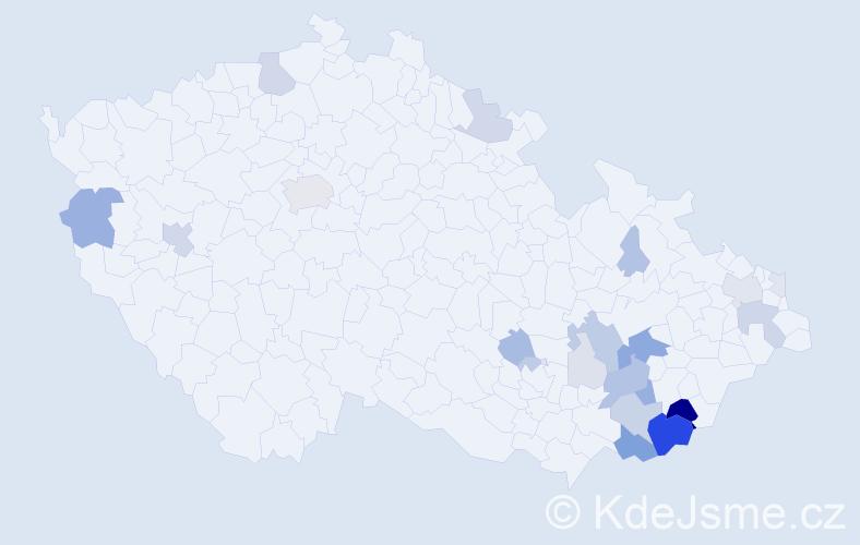 Příjmení: 'Berčík', počet výskytů 82 v celé ČR