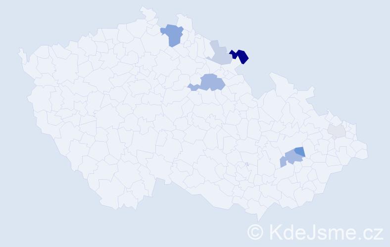Příjmení: 'Kantorík', počet výskytů 15 v celé ČR