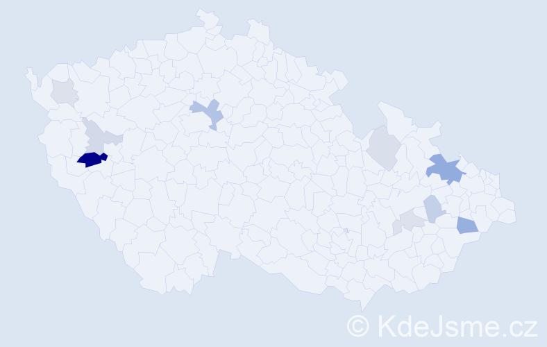 Příjmení: 'Gardašová', počet výskytů 22 v celé ČR