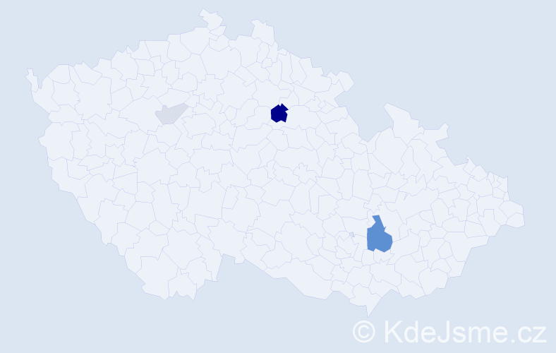 Příjmení: 'Čaky', počet výskytů 10 v celé ČR