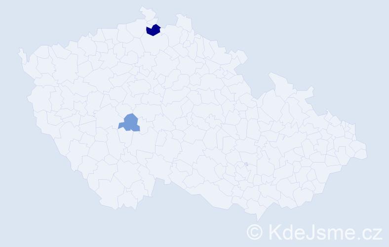 Příjmení: 'Haronková', počet výskytů 5 v celé ČR