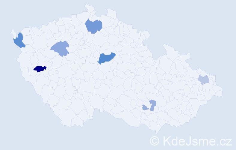 Příjmení: 'Jurčik', počet výskytů 13 v celé ČR